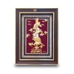 Tranh rồng phú quý dát vàng 54x72 cm