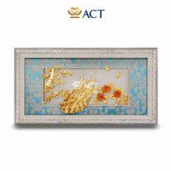Tranh đôi chim công và hoa mẫu đơn dát vàng thích hợp làm quà tặng tân gia, quà cưới, quà tặng sếp nữ