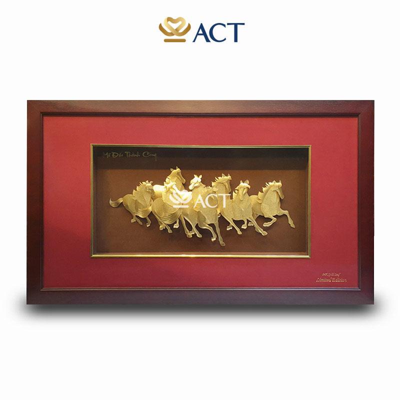 tranh bát mã dát vàng 54x93cm