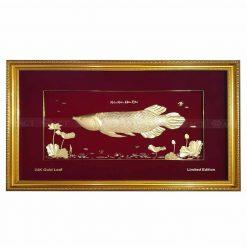 tranh cá rồng dát vàng